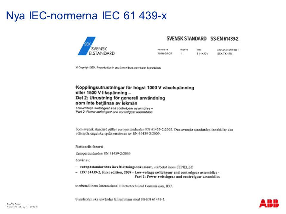 © ABB Group November 23, 2014 | Slide 11 Nya IEC-normerna IEC 61 439-x