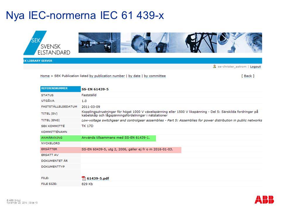 © ABB Group November 23, 2014 | Slide 13 Nya IEC-normerna IEC 61 439-x