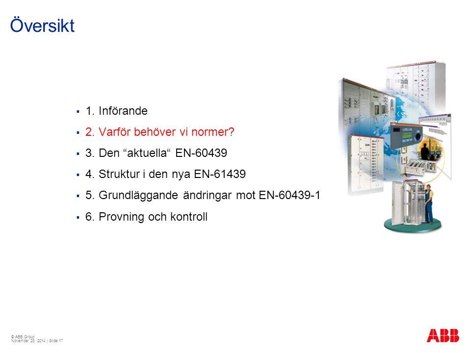 © ABB Group November 23, 2014 | Slide 17 Översikt  1.