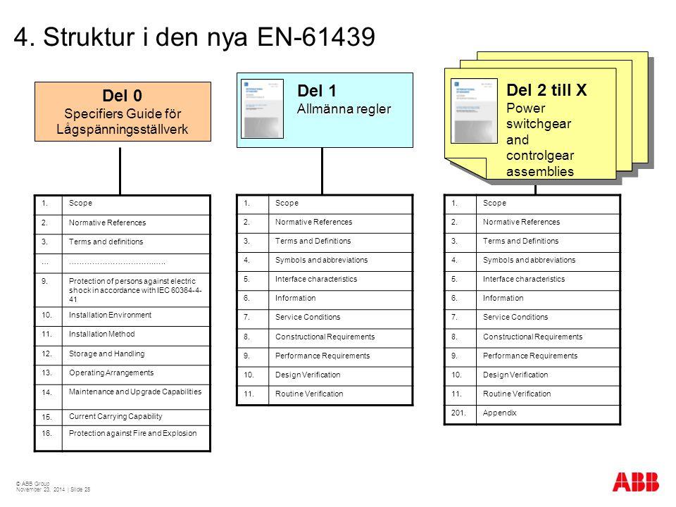 © ABB Group November 23, 2014 | Slide 25 4. Struktur i den nya EN-61439 Del 0 Specifiers Guide för Lågspänningsställverk Del 1 Allmänna regler Del 2 t