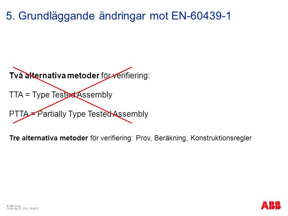 © ABB Group November 23, 2014 | Slide 30 5. Grundläggande ändringar mot EN-60439-1 Två alternativa metoder för verifiering: TTA = Type Tested Assembly