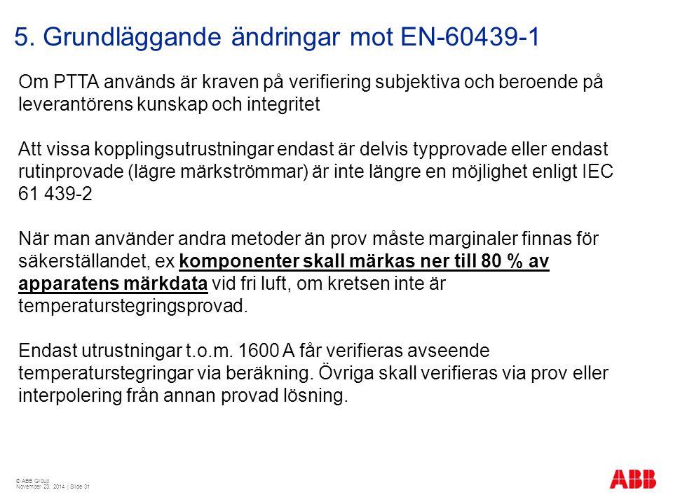 © ABB Group November 23, 2014 | Slide 31 5. Grundläggande ändringar mot EN-60439-1 Om PTTA används är kraven på verifiering subjektiva och beroende på