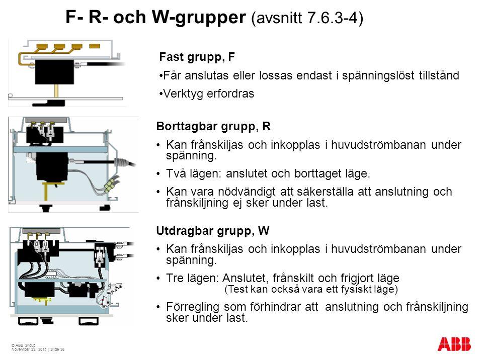 © ABB Group November 23, 2014 | Slide 36 F- R- och W-grupper (avsnitt 7.6.3-4) Borttagbar grupp, R Kan frånskiljas och inkopplas i huvudströmbanan under spänning.