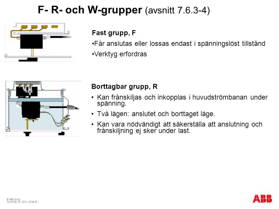 © ABB Group November 23, 2014 | Slide 38 F- R- och W-grupper (avsnitt 7.6.3-4) Borttagbar grupp, R Kan frånskiljas och inkopplas i huvudströmbanan under spänning.