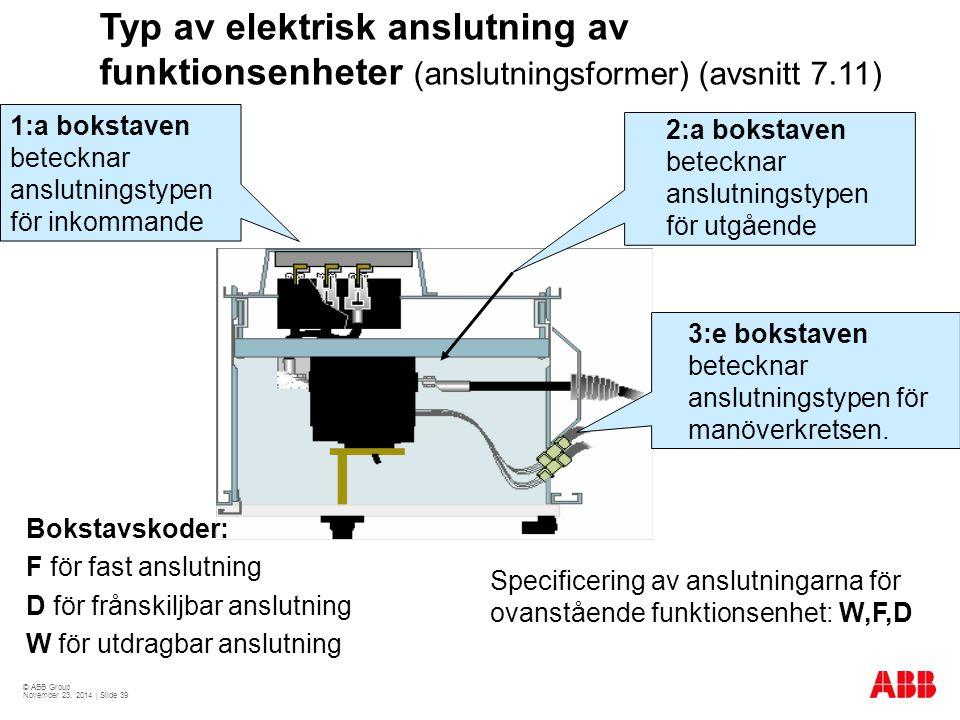 © ABB Group November 23, 2014 | Slide 39 Typ av elektrisk anslutning av funktionsenheter (anslutningsformer) (avsnitt 7.11) 2:a bokstaven betecknar anslutningstypen för utgående 3:e bokstaven betecknar anslutningstypen för manöverkretsen.