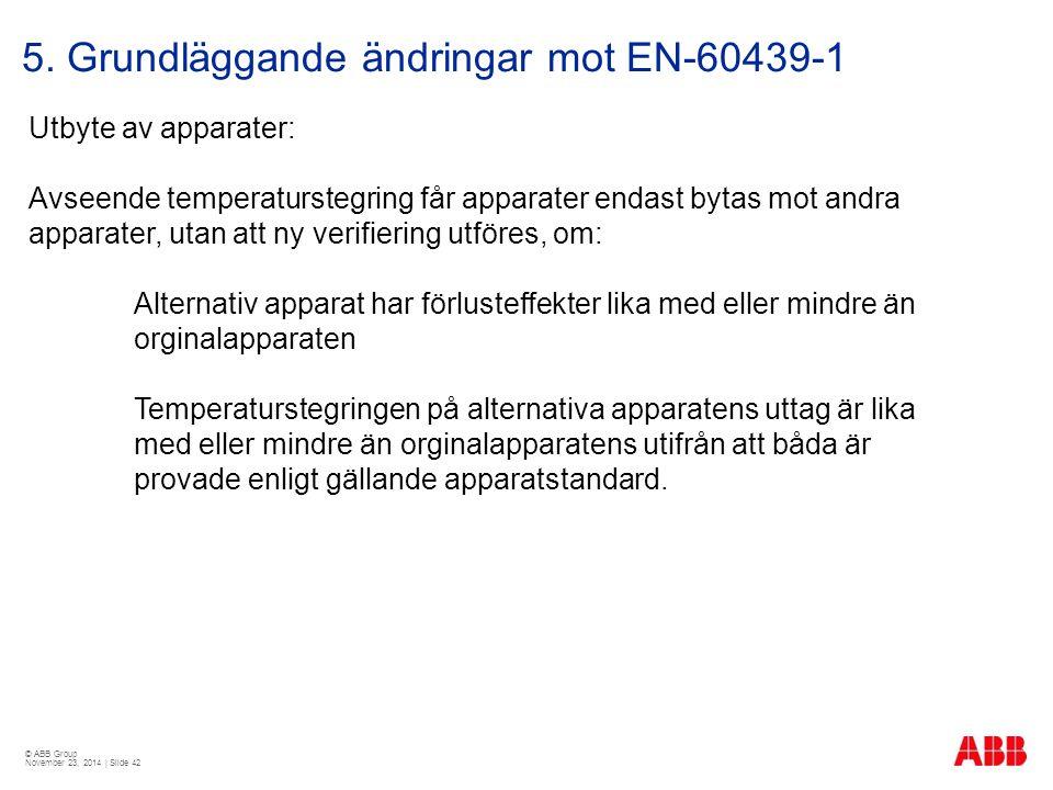 © ABB Group November 23, 2014 | Slide 42 5. Grundläggande ändringar mot EN-60439-1 Utbyte av apparater: Avseende temperaturstegring får apparater enda