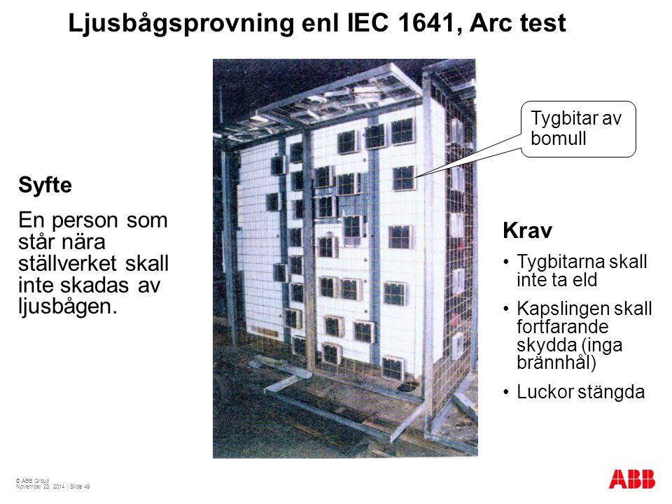 © ABB Group November 23, 2014 | Slide 49 Ljusbågsprovning enl IEC 1641, Arc test Syfte En person som står nära ställverket skall inte skadas av ljusbå