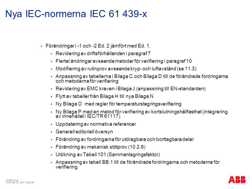 © ABB Group November 23, 2014 | Slide 59 Nya IEC-normerna IEC 61 439-x  Förändringar i -1 och -2 Ed. 2 jämfört med Ed. 1.  Revidering av driftsförhå