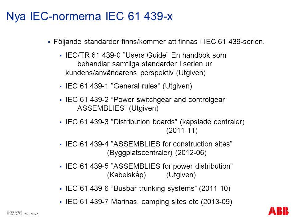 © ABB Group November 23, 2014 | Slide 8 Nya IEC-normerna IEC 61 439-x  Följande standarder finns/kommer att finnas i IEC 61 439-serien.  IEC/TR 61 4