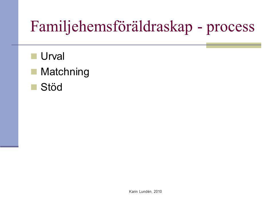 Karin Lundén, 2010 Familjehemsföräldraskap - process Urval Matchning Stöd
