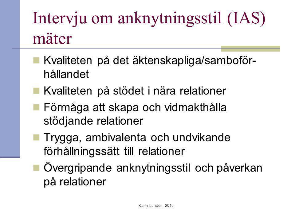 Karin Lundén, 2010 Intervju om anknytningsstil (IAS) mäter Kvaliteten på det äktenskapliga/samboför- hållandet Kvaliteten på stödet i nära relationer