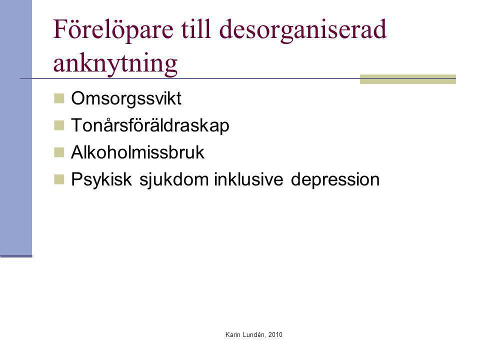 Karin Lundén, 2010 Förelöpare till desorganiserad anknytning Omsorgssvikt Tonårsföräldraskap Alkoholmissbruk Psykisk sjukdom inklusive depression