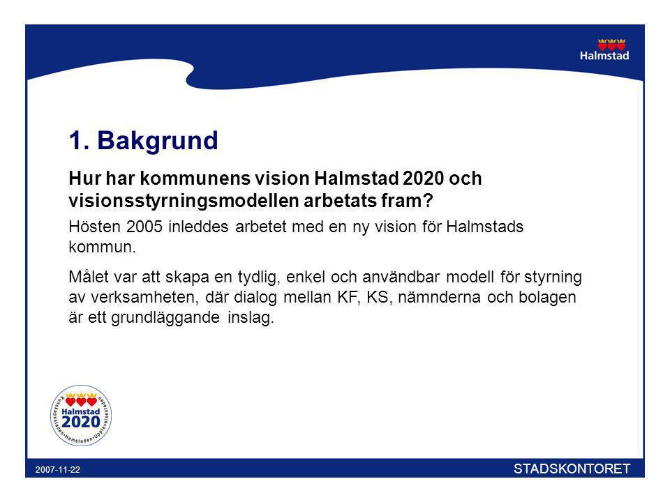 STADSKONTORET 2007-11-22 1. Bakgrund Hur har kommunens vision Halmstad 2020 och visionsstyrningsmodellen arbetats fram? Hösten 2005 inleddes arbetet m
