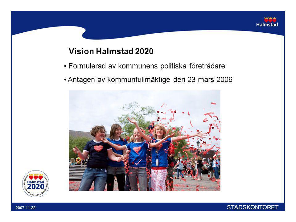 STADSKONTORET 2007-11-22 Vision Halmstad 2020 Formulerad av kommunens politiska företrädare Antagen av kommunfullmäktige den 23 mars 2006