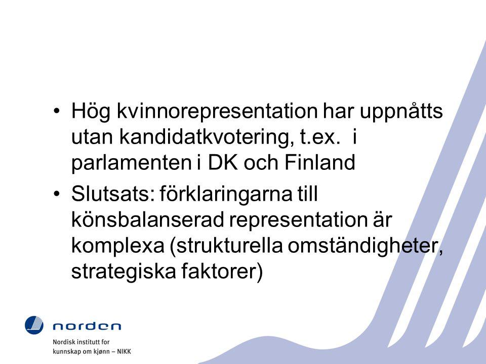 Hög kvinnorepresentation har uppnåtts utan kandidatkvotering, t.ex.