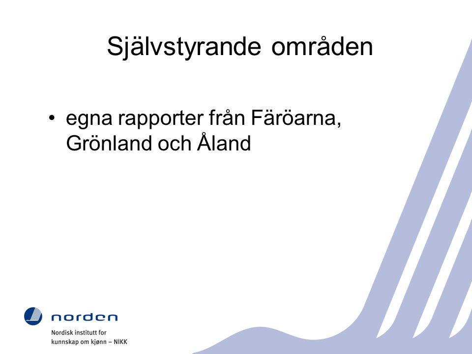 Självstyrande områden egna rapporter från Färöarna, Grönland och Åland