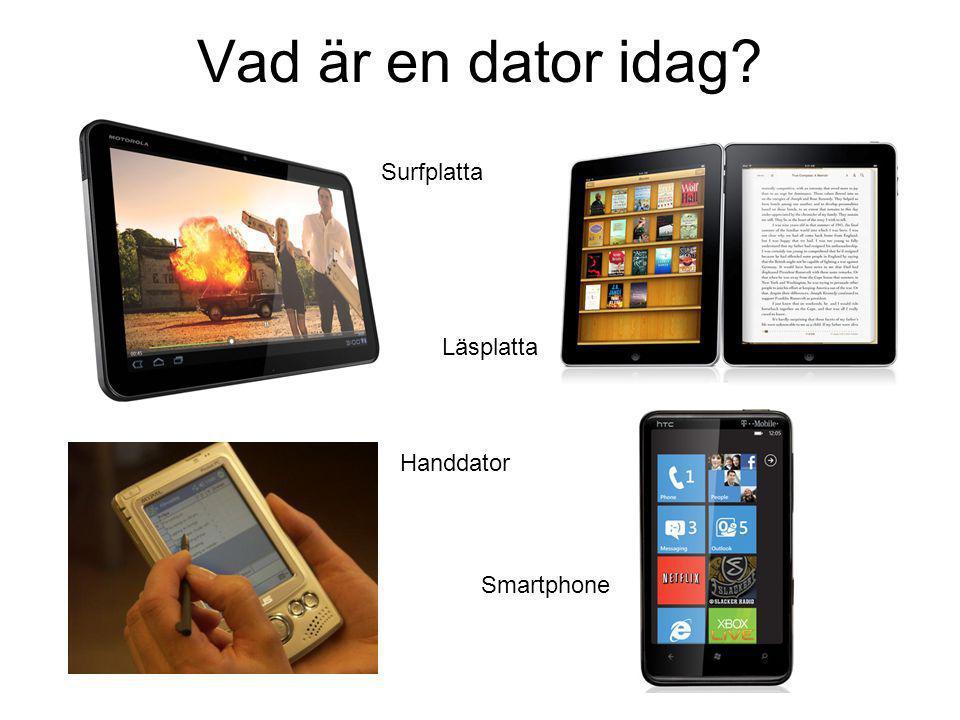 Vad är en dator idag? Surfplatta Läsplatta Handdator Smartphone