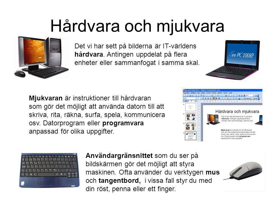 Hårdvara och mjukvara Det vi har sett på bilderna är IT-världens hårdvara.