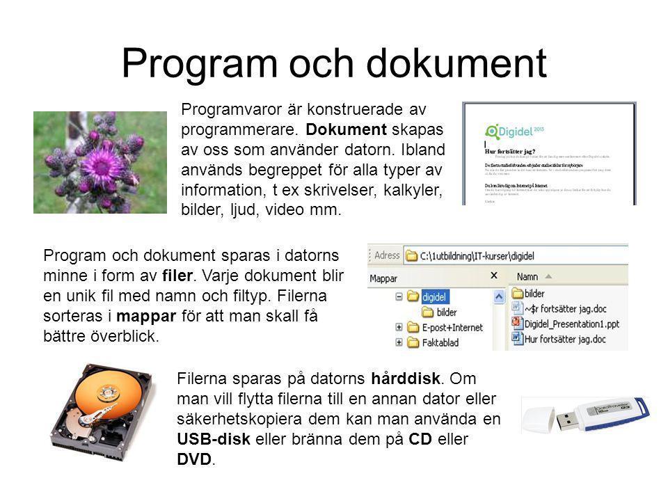Program och dokument Programvaror är konstruerade av programmerare.