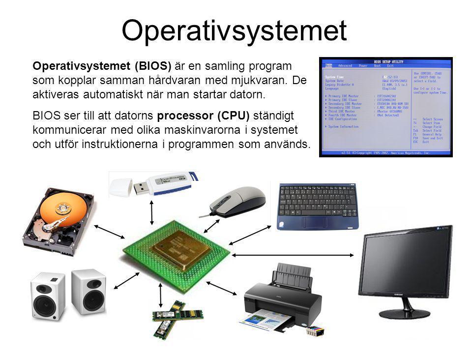 Operativsystem De vanligaste operativsystemen är Microsoft Windows (xp,vista, 7) och Apple Macintosh (mac os9, mac osX).