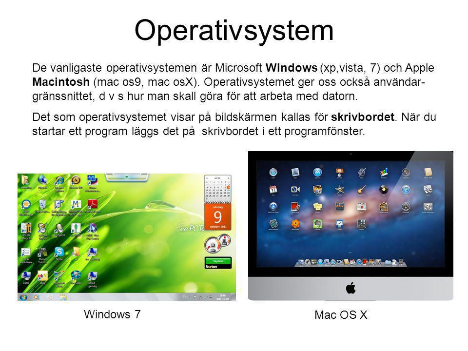 Mushantering Du kan starta program, flytta, ändra, radera mm genom att peka och klicka med datormusen på skrivbordet eller i öppna programfönster.