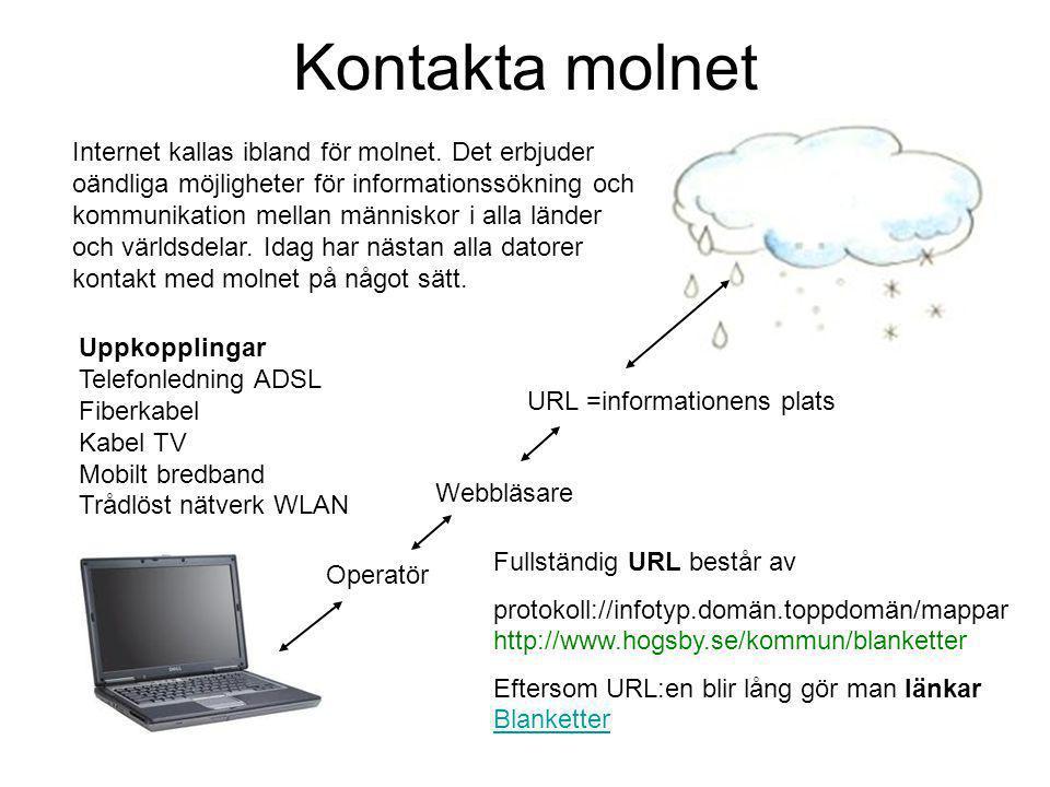 Kontakta molnet Internet kallas ibland för molnet.