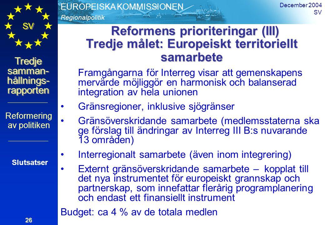 Regionalpolitik EUROPEISKA KOMMISSIONEN SV Tredje samman- hållnings- rapporten December 2004 SV 26 Reformens prioriteringar (III) Tredje målet: Europe