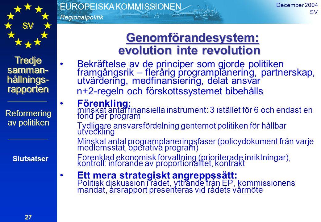 Regionalpolitik EUROPEISKA KOMMISSIONEN SV Tredje samman- hållnings- rapporten December 2004 SV 27 Genomförandesystem: evolution inte revolution Genom