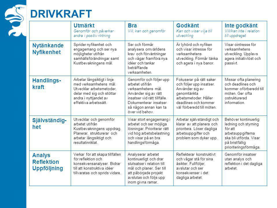 DRIVKRAFT Utmärkt Genomför och påverkar andra i positiv riktning Bra Vill, kan och genomför Godkänt Kan och visar vilja till utveckling Inte godkänt V
