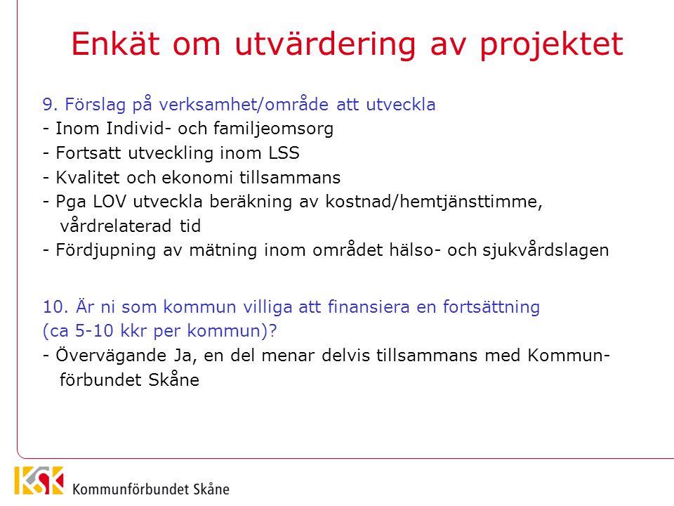Enkät om utvärdering av projektet 9. Förslag på verksamhet/område att utveckla - Inom Individ- och familjeomsorg - Fortsatt utveckling inom LSS - Kval