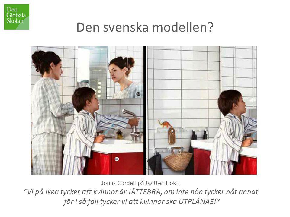 """Jonas Gardell på twitter 1 okt: """"Vi på Ikea tycker att kvinnor är JÄTTEBRA, om inte nån tycker nåt annat för i så fall tycker vi att kvinnor ska UTPLÅ"""