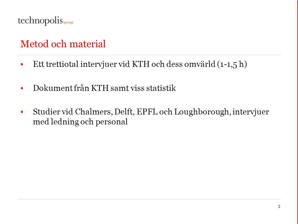 Metod och material Ett trettiotal intervjuer vid KTH och dess omvärld (1-1,5 h) Dokument från KTH samt viss statistik Studier vid Chalmers, Delft, EPFL och Loughborough, intervjuer med ledning och personal 3