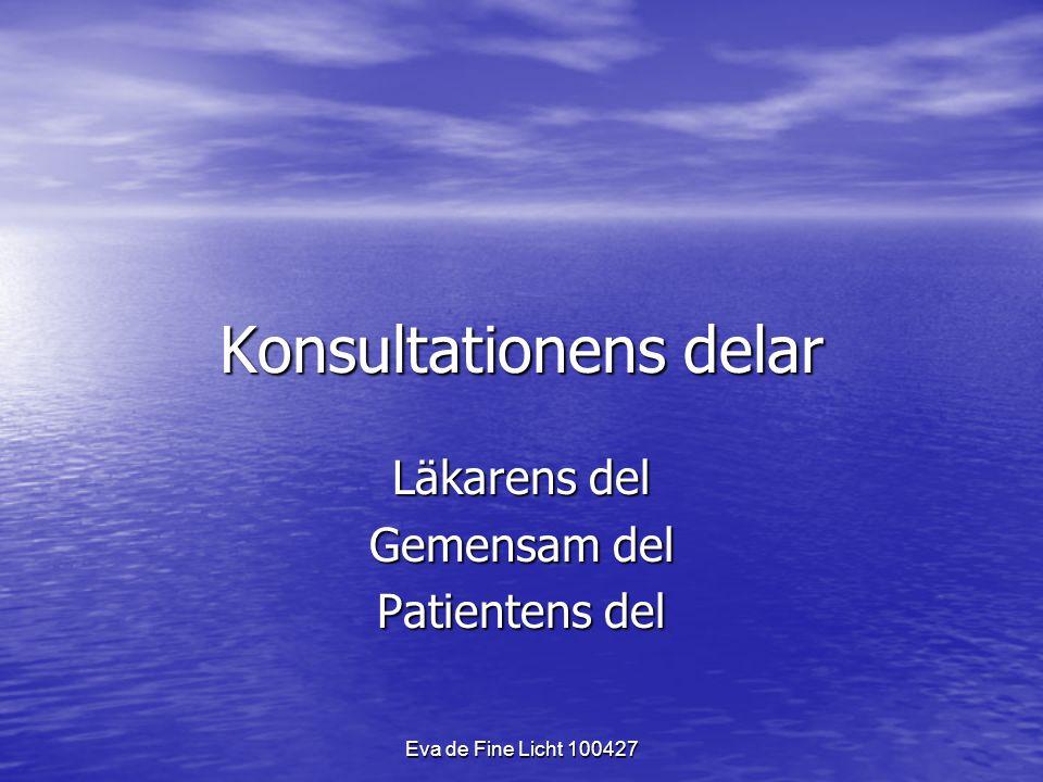 Eva de Fine Licht 100427 Konsultationens delar Läkarens del Gemensam del Patientens del