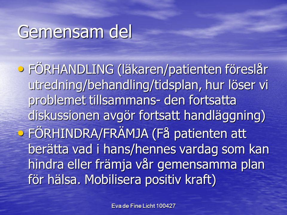 Eva de Fine Licht 100427 Gemensam del FÖRHANDLING (läkaren/patienten föreslår utredning/behandling/tidsplan, hur löser vi problemet tillsammans- den fortsatta diskussionen avgör fortsatt handläggning) FÖRHANDLING (läkaren/patienten föreslår utredning/behandling/tidsplan, hur löser vi problemet tillsammans- den fortsatta diskussionen avgör fortsatt handläggning) FÖRHINDRA/FRÄMJA (Få patienten att berätta vad i hans/hennes vardag som kan hindra eller främja vår gemensamma plan för hälsa.