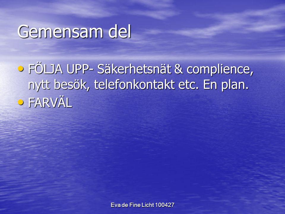 Eva de Fine Licht 100427 Gemensam del FÖLJA UPP- Säkerhetsnät & complience, nytt besök, telefonkontakt etc.
