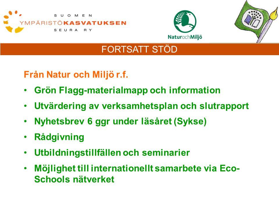 FORTSATT STÖD Från Natur och Miljö r.f.