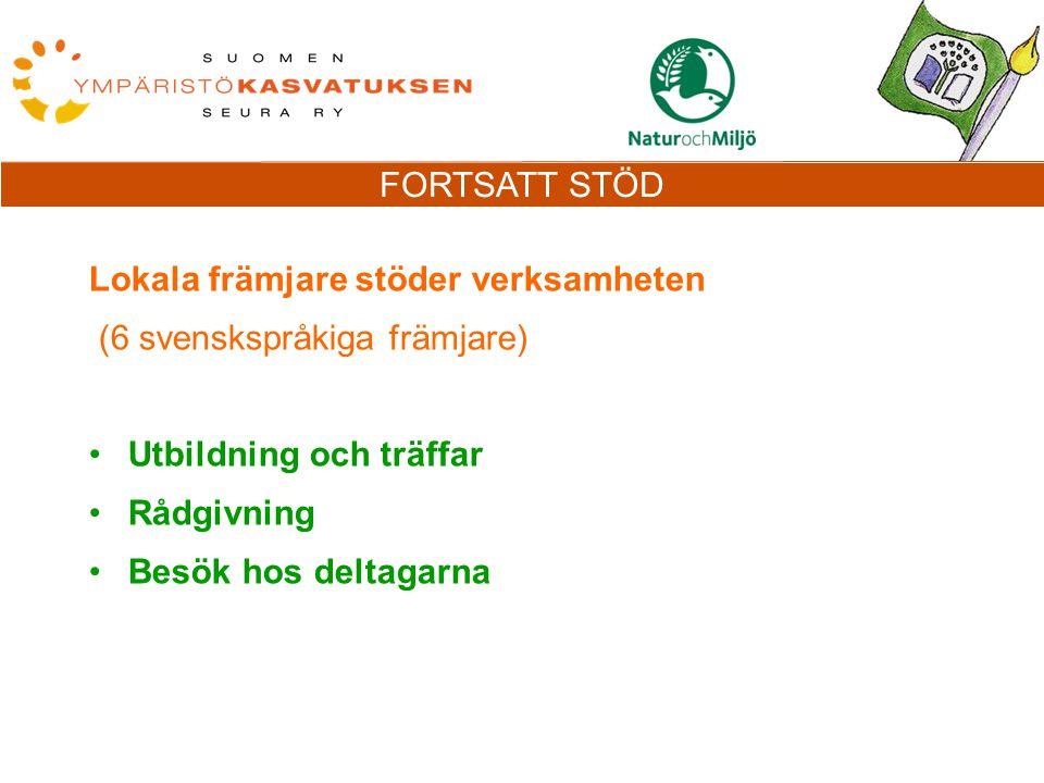 FORTSATT STÖD Lokala främjare stöder verksamheten (6 svenskspråkiga främjare) Utbildning och träffar Rådgivning Besök hos deltagarna