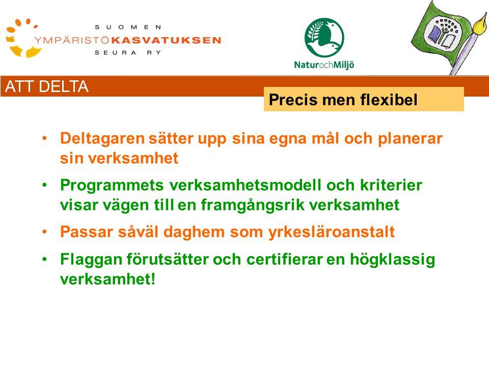 ATT DELTA Deltagaren sätter upp sina egna mål och planerar sin verksamhet Programmets verksamhetsmodell och kriterier visar vägen till en framgångsrik verksamhet Passar såväl daghem som yrkesläroanstalt Flaggan förutsätter och certifierar en högklassig verksamhet.