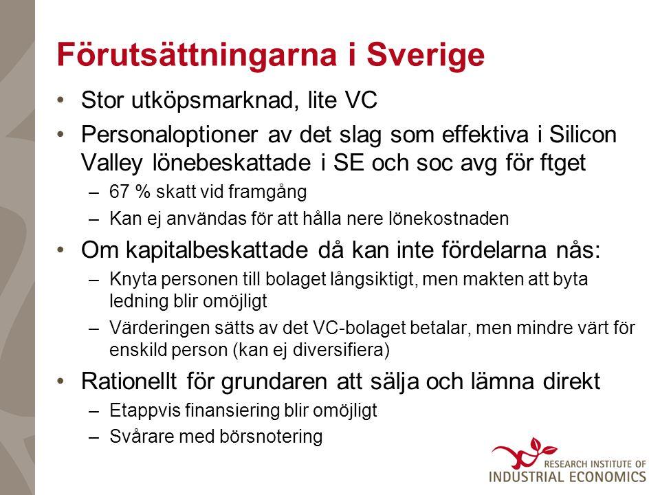 Förutsättningarna i Sverige Stor utköpsmarknad, lite VC Personaloptioner av det slag som effektiva i Silicon Valley lönebeskattade i SE och soc avg för ftget –67 % skatt vid framgång –Kan ej användas för att hålla nere lönekostnaden Om kapitalbeskattade då kan inte fördelarna nås: –Knyta personen till bolaget långsiktigt, men makten att byta ledning blir omöjligt –Värderingen sätts av det VC-bolaget betalar, men mindre värt för enskild person (kan ej diversifiera) Rationellt för grundaren att sälja och lämna direkt –Etappvis finansiering blir omöjligt –Svårare med börsnotering