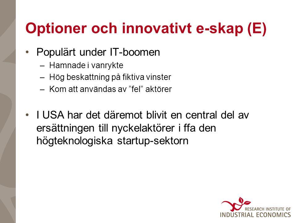 """Optioner och innovativt e-skap (E) Populärt under IT-boomen –Hamnade i vanrykte –Hög beskattning på fiktiva vinster –Kom att användas av """"fel"""" aktörer"""