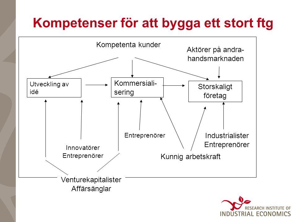 Storskaligt företag Venturekapitalister Affärsänglar Kunnig arbetskraft Utveckling av idé Kommersiali- sering Kompetenta kunder Industrialister Entrep