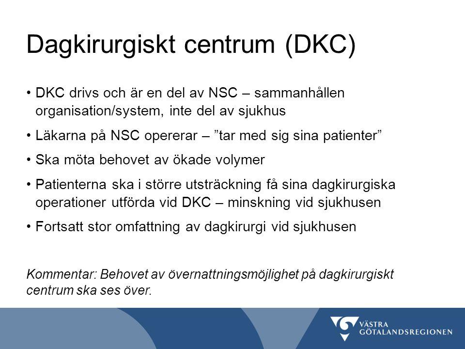 """Dagkirurgiskt centrum (DKC) DKC drivs och är en del av NSC – sammanhållen organisation/system, inte del av sjukhus Läkarna på NSC opererar – """"tar med"""