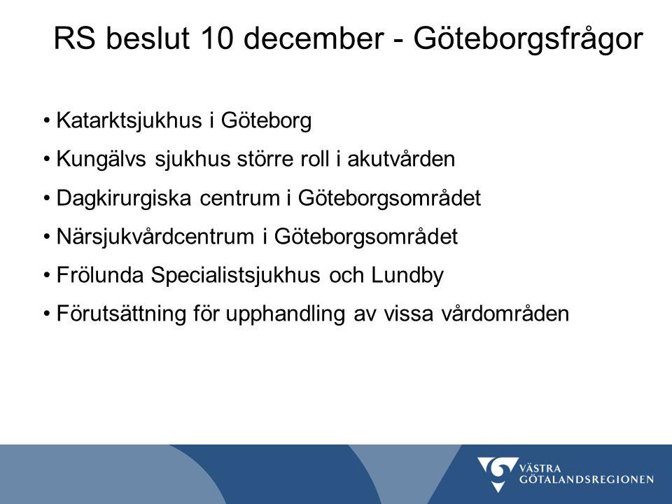 RS beslut 10 december - Göteborgsfrågor Katarktsjukhus i Göteborg Kungälvs sjukhus större roll i akutvården Dagkirurgiska centrum i Göteborgsområdet N