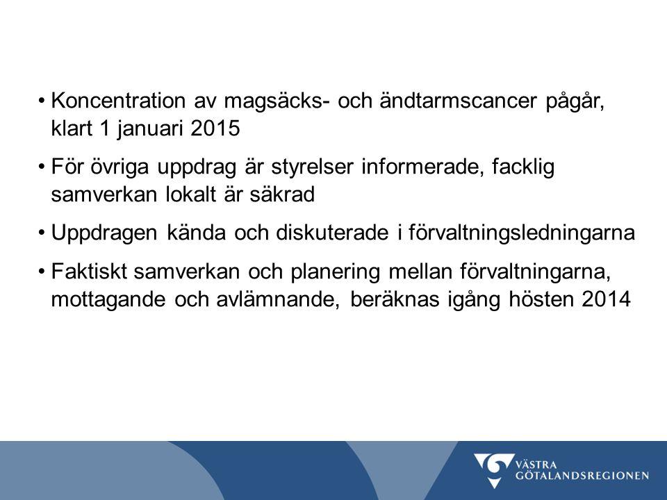 Koncentration av magsäcks- och ändtarmscancer pågår, klart 1 januari 2015 För övriga uppdrag är styrelser informerade, facklig samverkan lokalt är säk