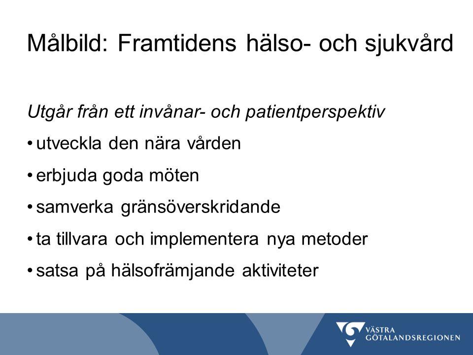Målbild: Framtidens hälso- och sjukvård Utgår från ett invånar- och patientperspektiv utveckla den nära vården erbjuda goda möten samverka gränsöversk