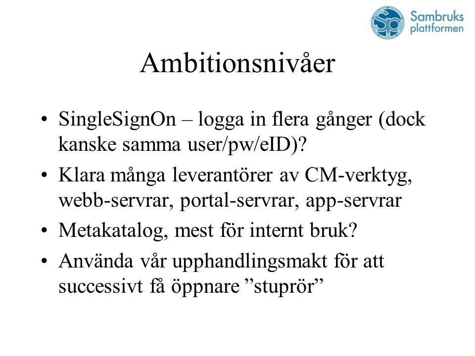 Ambitionsnivåer SingleSignOn – logga in flera gånger (dock kanske samma user/pw/eID).