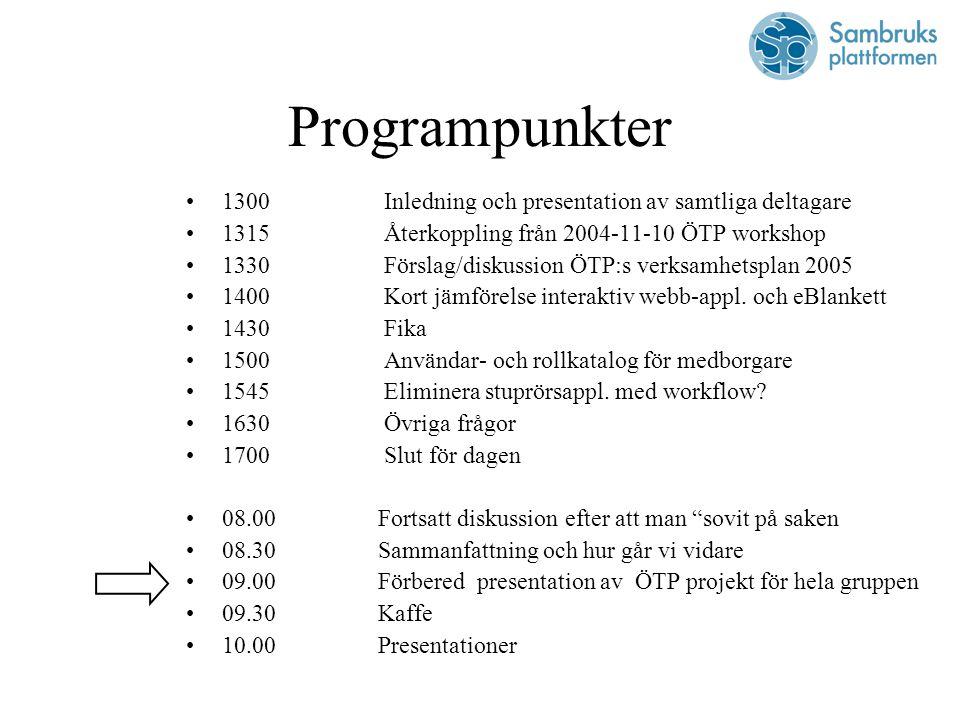 Programpunkter 1300 Inledning och presentation av samtliga deltagare 1315 Återkoppling från 2004-11-10 ÖTP workshop 1330 Förslag/diskussion ÖTP:s verksamhetsplan 2005 1400 Kort jämförelse interaktiv webb-appl.