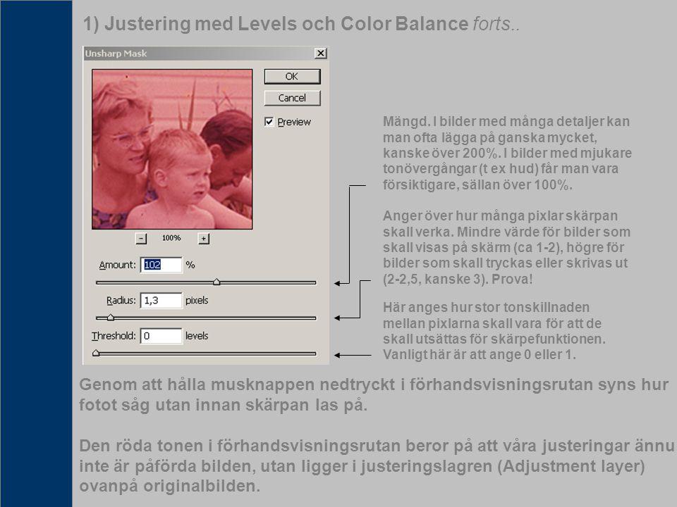 1) Justering med Levels och Color Balance forts.. Mängd. I bilder med många detaljer kan man ofta lägga på ganska mycket, kanske över 200%. I bilder m