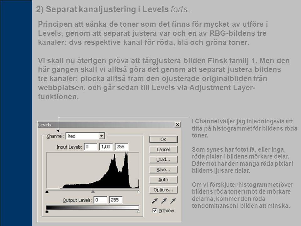 2) Separat kanaljustering i Levels forts.. Principen att sänka de toner som det finns för mycket av utförs i Levels, genom att separat justera var och