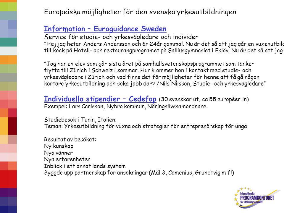 Europeiska möjligheter för den svenska yrkesutbildningen Information – Euroguidance Sweden Service för studie- och yrkesvägledare och individer Hej jag heter Anders Andersson och är 24år gammal.